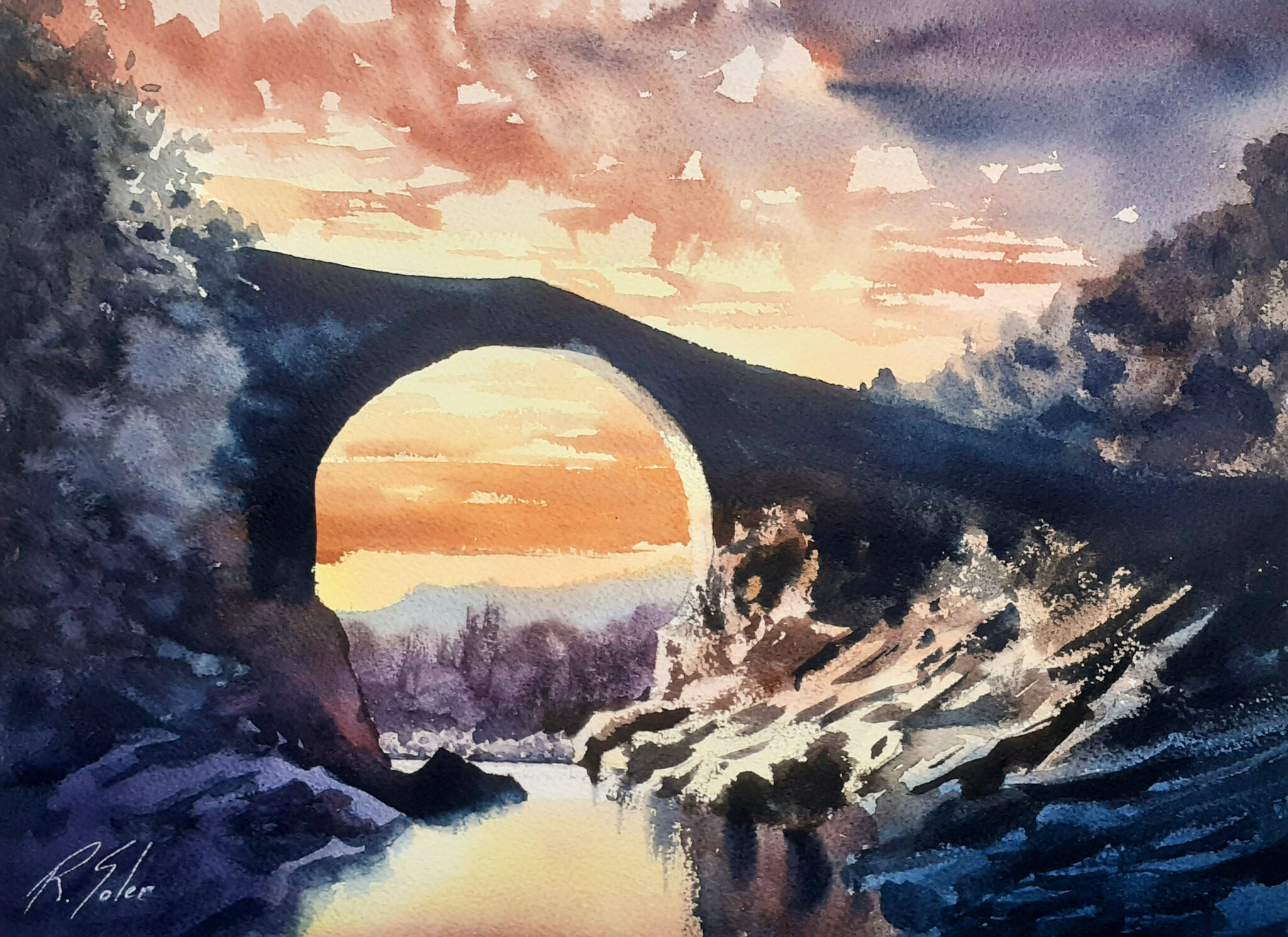 Pont de Llierca 25 x 35 cm. (Disponible)