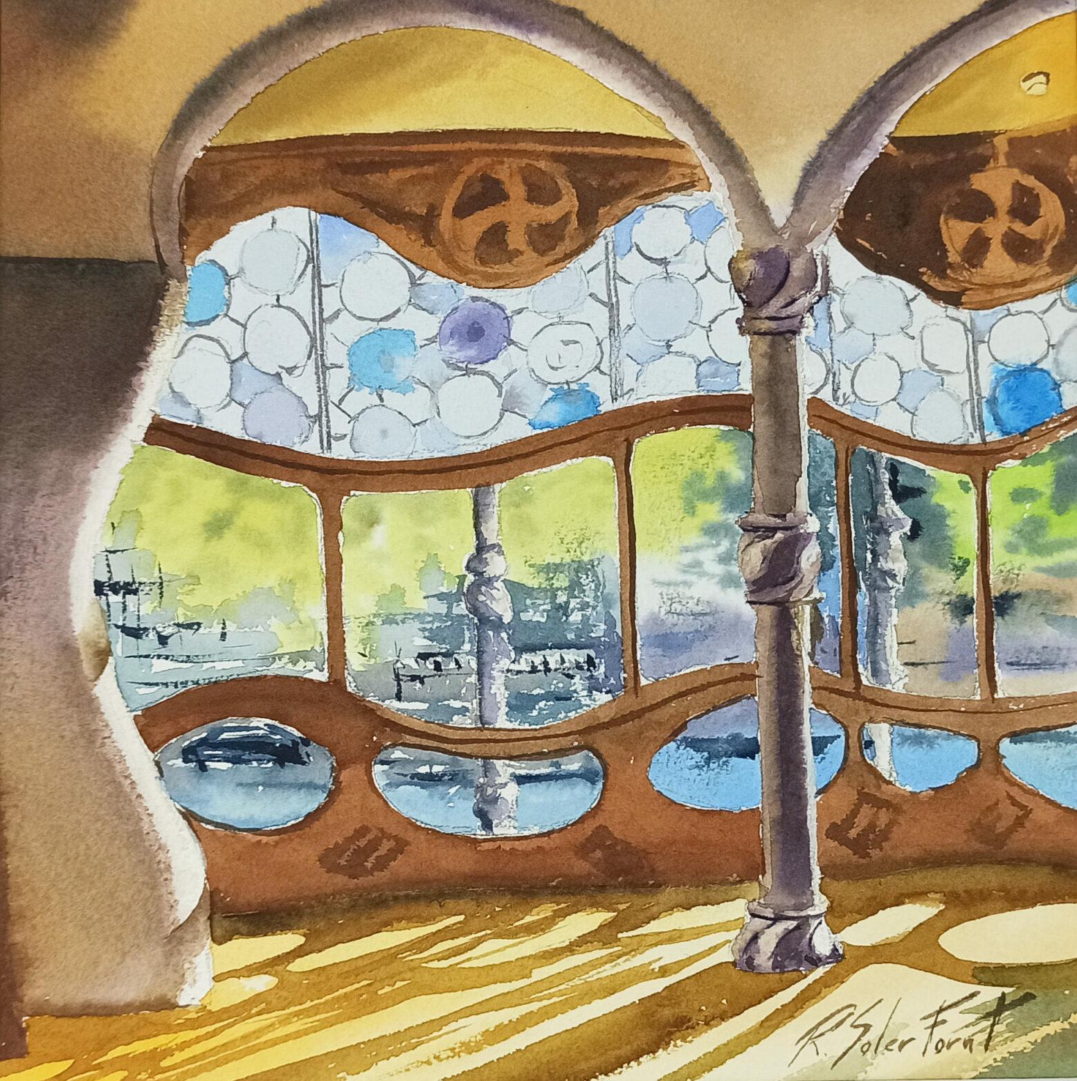 Interior de la casa Batlló, 20 x 20 cm. (Disponible)