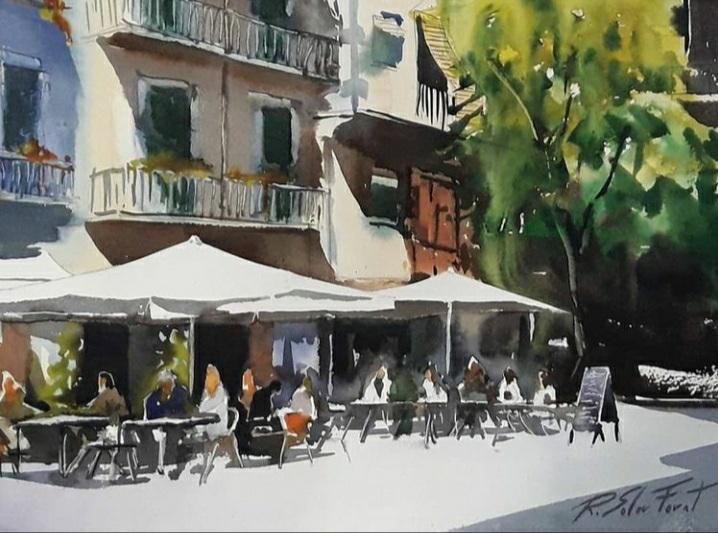Terrassa a la placa de les Olles,  Barcelona. 30 x 40 cm. (Disponible)