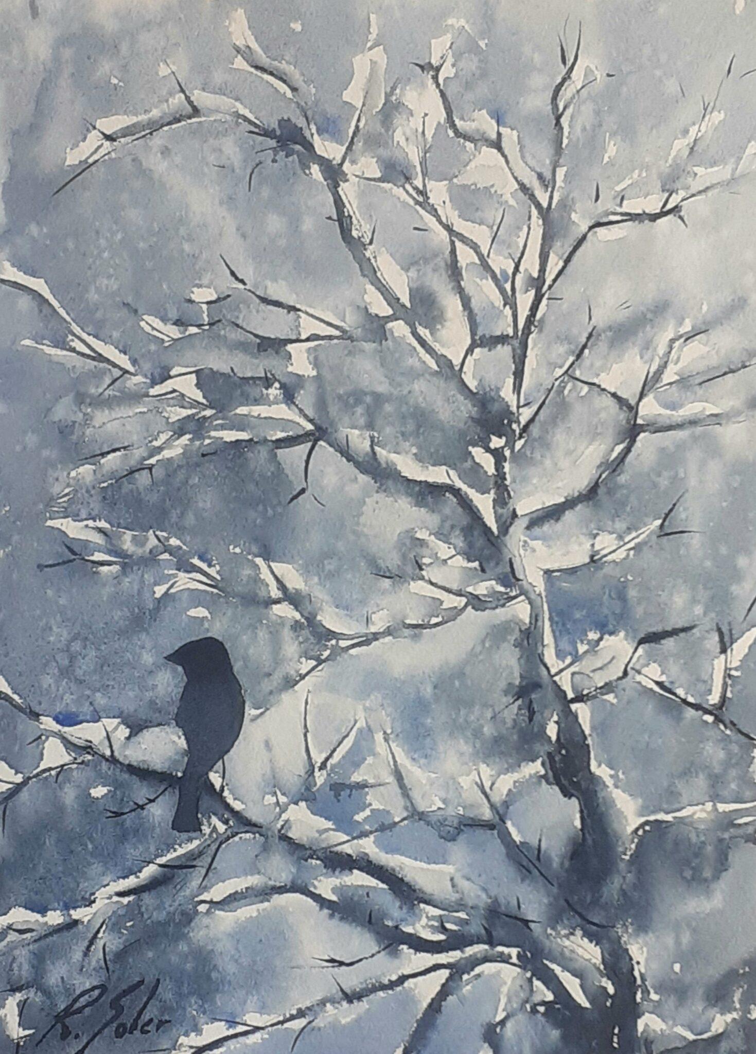 Ocell a l'hivern, 25 x 35 cm. (Disponible)