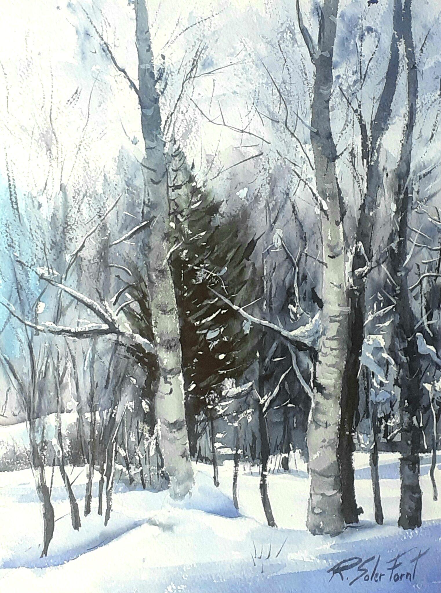 Bosc nevat, 25 x 35 cm. (Disponible)
