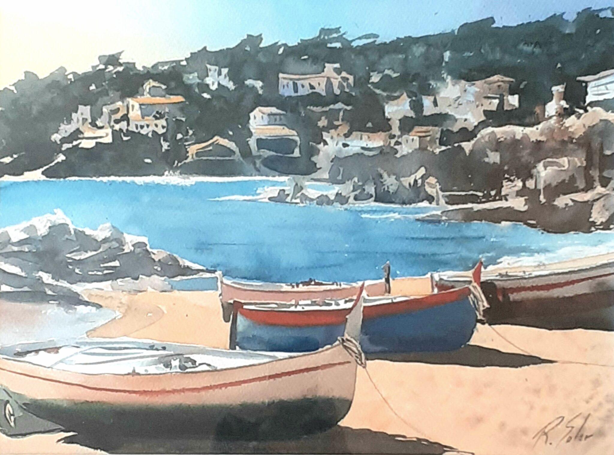 Barques a la platja de Calella, 30 x 40 cm. (Disponible)
