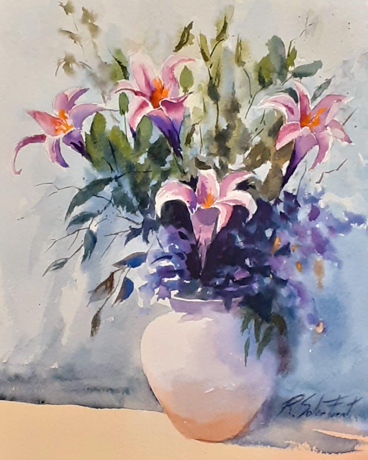 Gerro amb flors, 25 x 35 cm. (Disponible)
