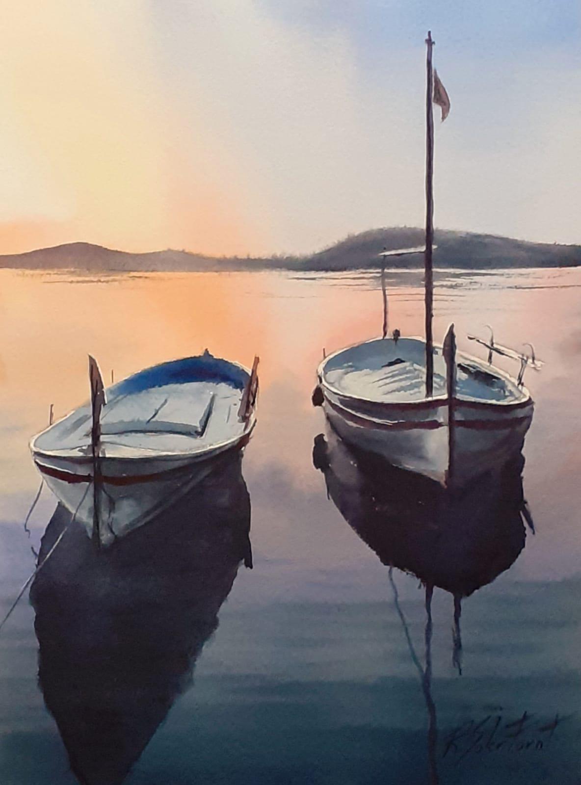 Dues barques a Port Lligat, 25 x 35 cm. (Disponible)