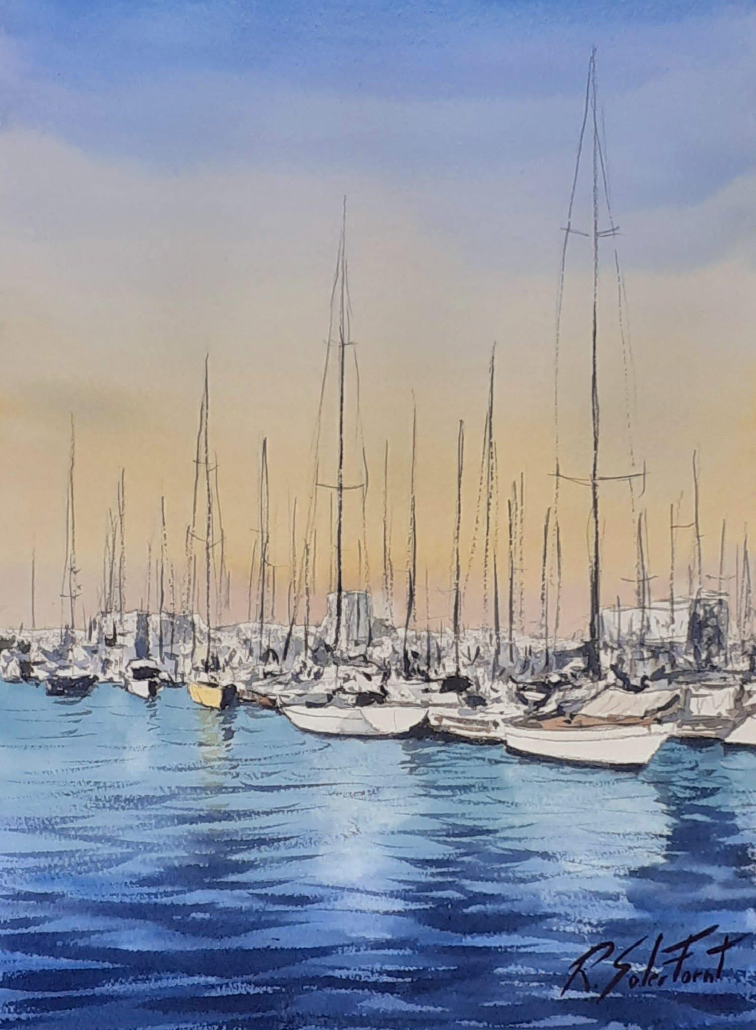 Port nàutic de Barcelona, 25 x 35 cm. (Disponible)