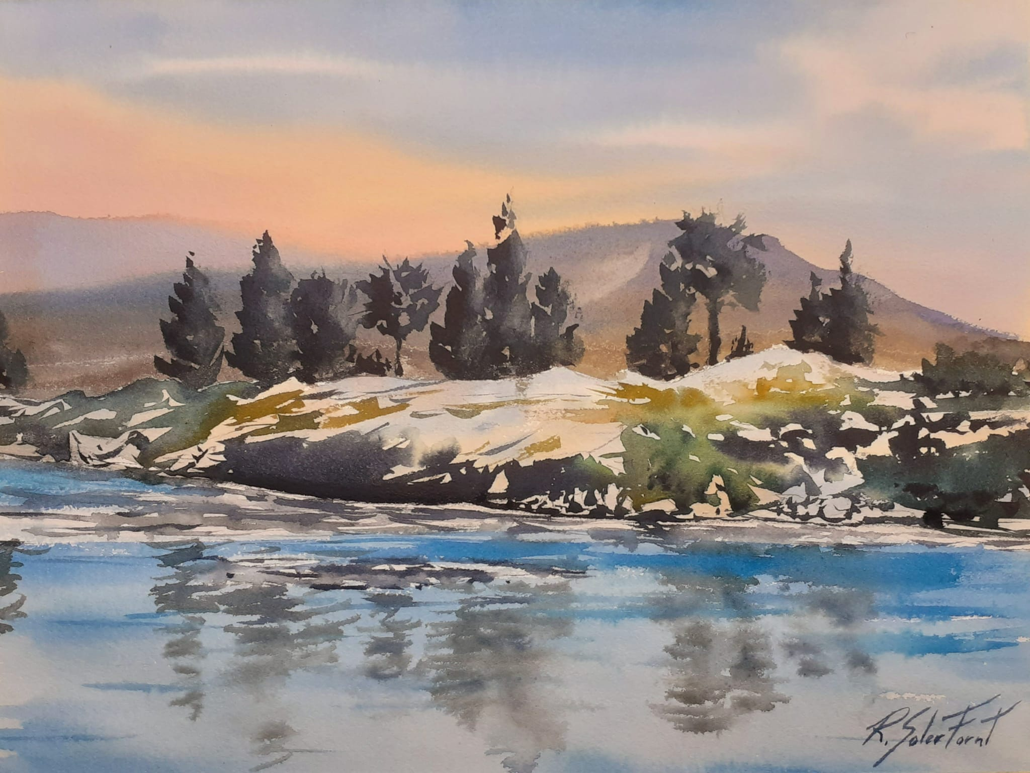 El riu i les roques, 25 x 35 cm. (Disponible)