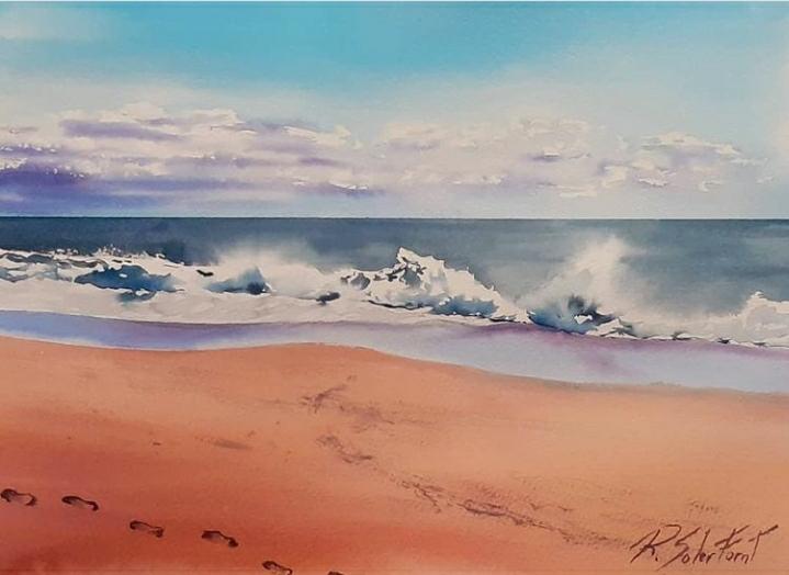 Petjades a la platja, 25 x 35 cm. (Venuda)