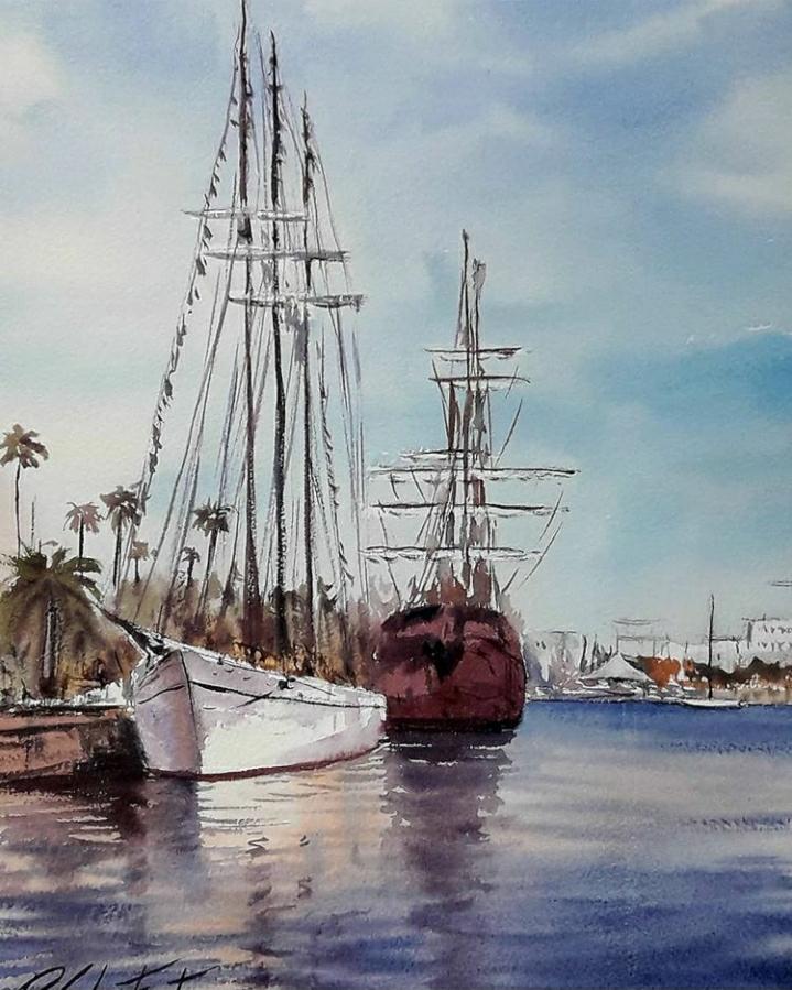 Dos velers al port de Barcelona, (Venuda)