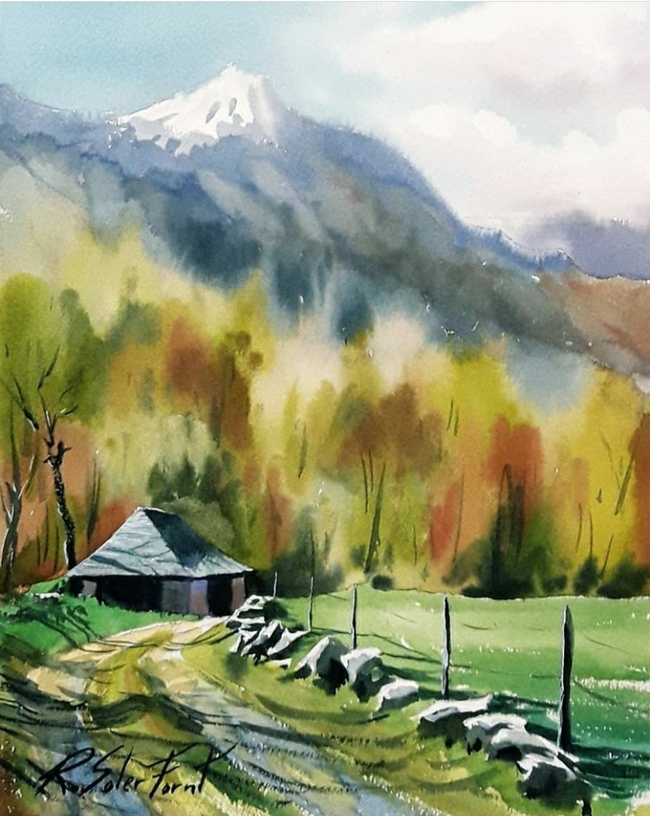 Cami a la caseta a la Vall d'Aran, 25 x 35 cm. (Disponible)