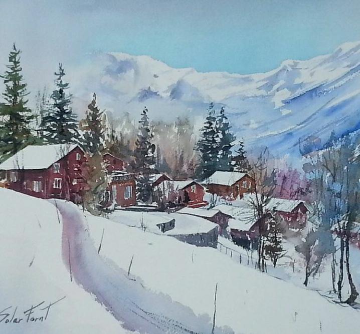Cases al Pirineu, 35 x 45 cm. (Disponible)
